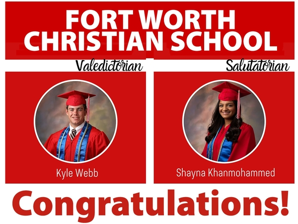 Fort Worth Christian School announces Valedictorian and Salutatorian for the Class of 2020